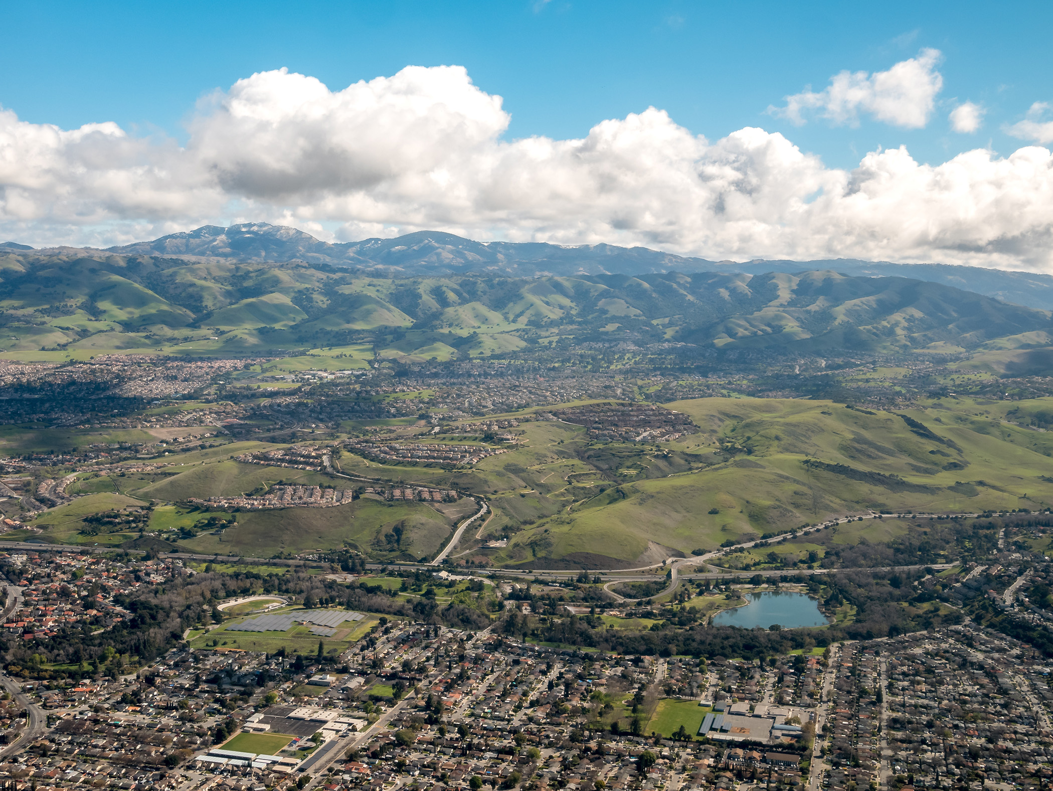 Aerial View of Suburbs of San Jose California From Airplane